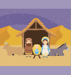Jesus between mary and joseph with donkey and mule vector