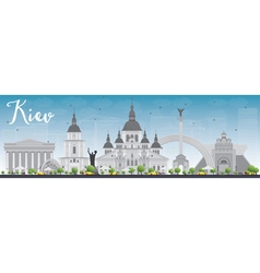 Kiev skyline with grey landmarks and blue sky vector
