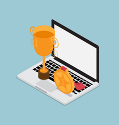 Laptop with gold trophy business concept isometric vector