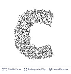 letter c symbol of white leaves vector image