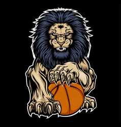 Lion aggry playbasketball drawing background vector