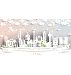 Lisbon portugal city skyline in paper cut style vector