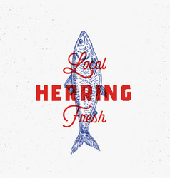 Local fresh herring abstract sign symbol vector