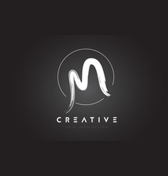 M brush letter logo design artistic handwritten vector
