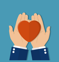 Man holds a heart in his hands vector