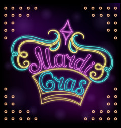 mardi gras hand lettering decor for the new vector image