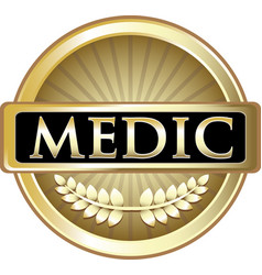 Medic gold label vector