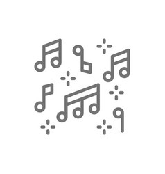 music notes line icon vector image