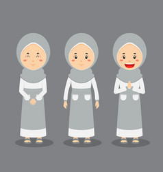 Muslim character with various expression vector