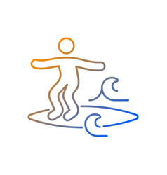 Noseriding surfing technique gradient linear icon vector