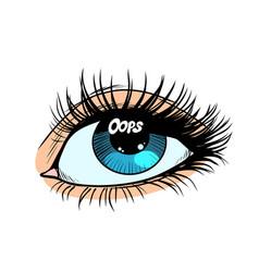 Oops glare in eye women vector