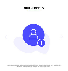 Our services add contact twitter solid glyph icon vector