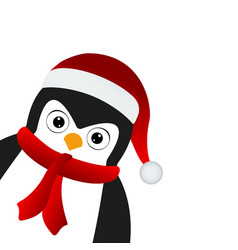 penguin santa in a cap and scarf vector image