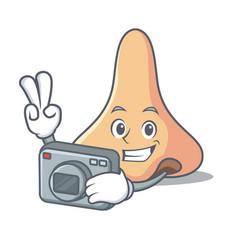 Photographer nose mascot cartoon style vector