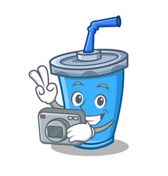 Photography soda drink character cartoon vector