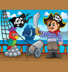 Pirate ship deck topic 3 vector