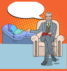 pop art senior psychotherapist with comic speech vector image