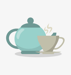 porcelain tea kettle with cup of coffee vector image