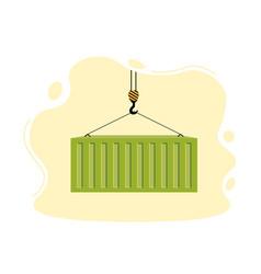 Port crane lifts green container concept vector