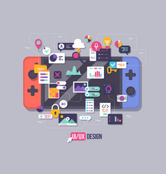 process developing interface for game vector image