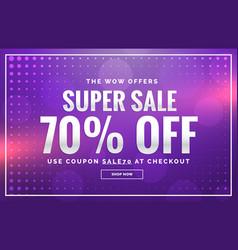 Purple sale banner design with offer design for vector