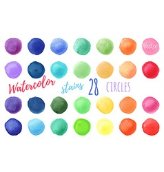 Rainbow colors watercolor paint stains vector