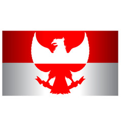 Red white garuda indonesia flag wide screen vector
