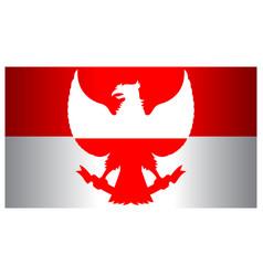 Red white garuda indonesia flag wide screen vector