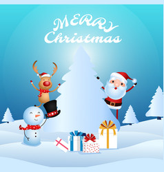Santa claus snowman reindeer are companion vector
