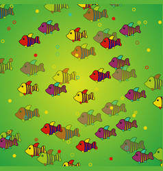 Seamless pattern with decorative fish cartoon vector