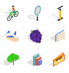 Service life icons set isometric style vector