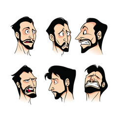 Set of emotions of a bearded man of melancholy vector