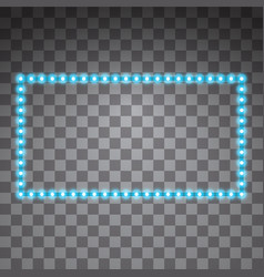 Shining blue led rectangle frames neon vector