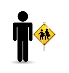 silhouette man road sign school zone icon vector image