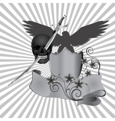 Skull pierced by a sword vector
