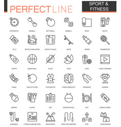 Sport and fitness thin line web icons set outline vector