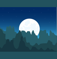 Steep mountains and moon vector