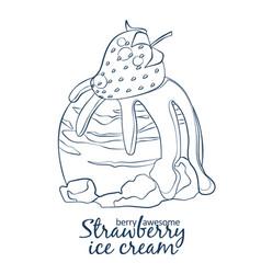 strawberry ice cream scoop icon cartoon vector image