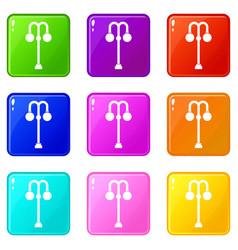 Street lamp icons 9 set vector
