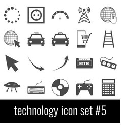 technology icon set 5 gray icons on white vector image