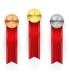 three medals award for winners achievement and vector image
