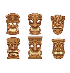 tiki mask set vector image
