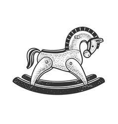 Toy rocking horse sketch vector