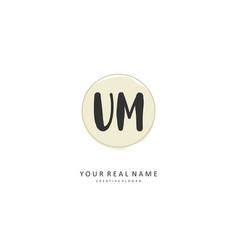 u m um initial letter handwriting and signature vector image