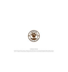 vintage retro bear wolf footprint and pine cedar vector image