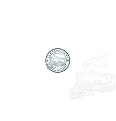 vintage retro steam train locomotive logo design vector image