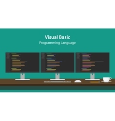 Visual Basic programming language vector image