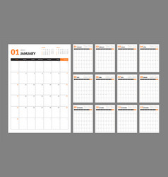 Wall calendar template for 2021 year planner vector