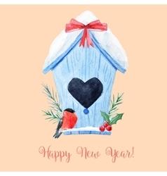 Watercolor christmas birdhouse vector