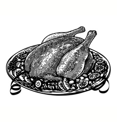 whole roasted turkey in engraved style vector image